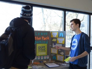 Grant Hayward, member LTPB communications team was in the Mac Chown A Block hallway this week speaking with students about strategies for quitting and the benefits of the wouldurather Contest.
