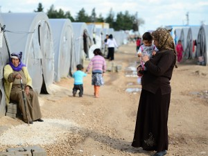 Syrian people in a refugee camp in Suruc, Turkey.
