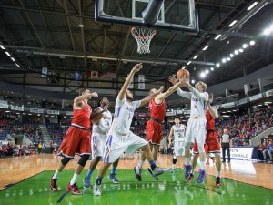 Men's basketball under the net at the Meridian Centre