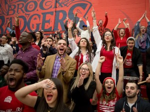 Fans cheer on their Brock basketball teams at the President's game. The theme of the games was suits and sneakers.
