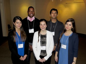 The five finalists for Brock University's Three Minute Thesis competition are, from left: Malisa Kurtz, Jermel Pierre, Carly Cameron, Anshul Sidhu and Dinara Salaeva. The will compete against each other April 7 after making it through the preliminary round Feb. 23.