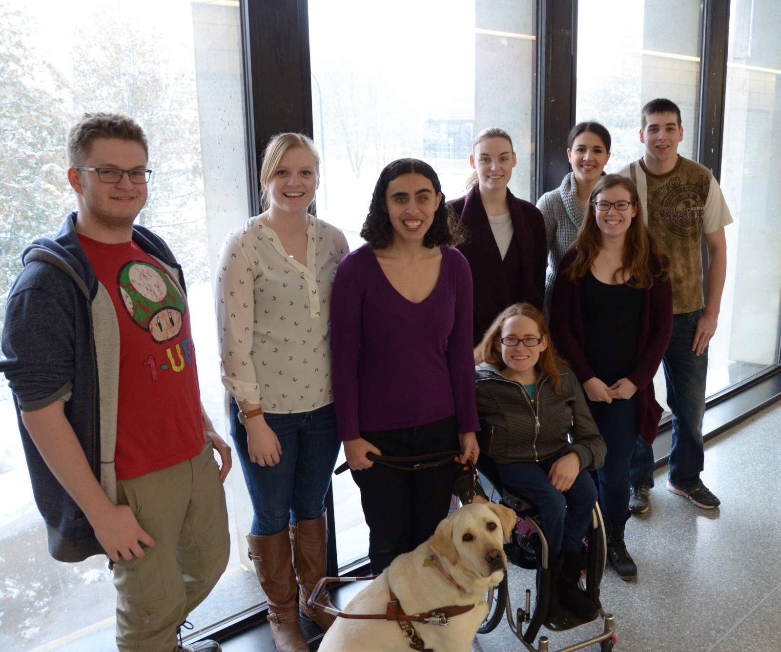 ABLE members (Front L-R): Founder and President Keely Grossman with her service dog/honourary ABLE co-president, Vice-President Jessica Lewis and Alanna Kitching. (Back L-R): Dylan Pineo, Jessica Koppers (Secretary), Cara McAlister, Raquel Welby and Matt Barry (Treasurer).