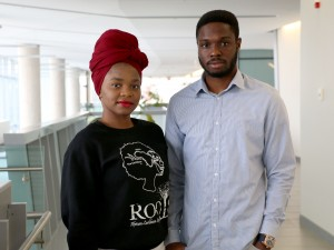 Merveilles Tshisuaka, left, and Francis Akpotu, public relations officers with the ROOTS African Caribbean Society.