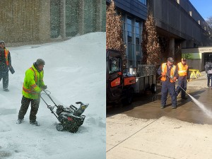 What a difference a year makes. The image on the left was taken on Feb. 2, 2015 when workers were clearing snow and the University had a snow day. The image on the right was taken on Feb. 2, 2016 as crews powerwashed the sidewalk in spring-like conditions.
