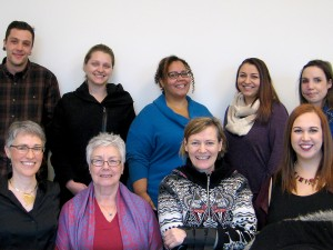 Members of the organizing committee for the ninth annual Niagara Social Justice Forum, from left to right: James McBride, Kaitlin Peters, Shannon Kitchings, Charissa Sanche, and Nancy Worth. Back left: Mary-Beth Raddon, Helen McCubbin, Gyllian Raby and Carissa Taylor.