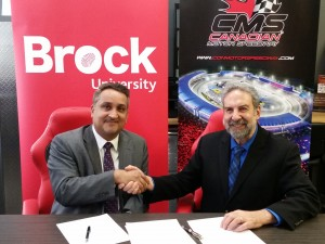 Brock University Vice-President, Research Gary Libben, right, and Azhar Mohammad, CMS executive director, signed a memorandam of understanding Tuesday, March 22.