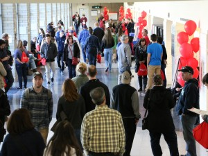 Prospective students and parents check out Brock University.