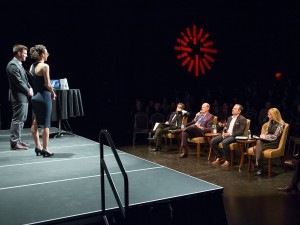 Madi Fuller and Harrison Olajos make their business pitch to Monster Pitch judges Bruce Croxon, left, Jim Treliving, Jason Sparaga and Deborah Rosati.