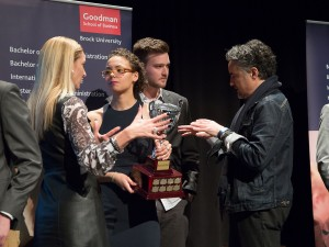 Monster Pitch judges Deborah Rosati and Bruce Croxon talk to winners Madi Fuller and Harrison Olajos.