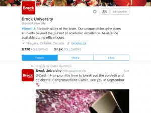 Screen shot of Brock University Twitter page.