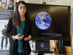 Graduate student Malisa Kurtz gives her 3MT presentation. She was runner-up in the Brock competition.