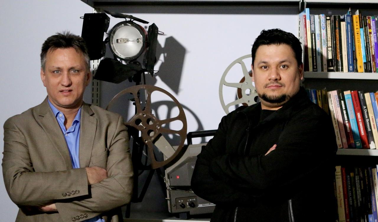 Scott Henderson, chair of Brock University's Department of Communication, Pop Culture and Film, left, and Nano Debassige, senior manager of Weengushk Film Institute.