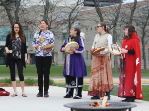 Drumming and songs were part of a tobacco ceremony and prayer vigil held at Brock University Thursday.