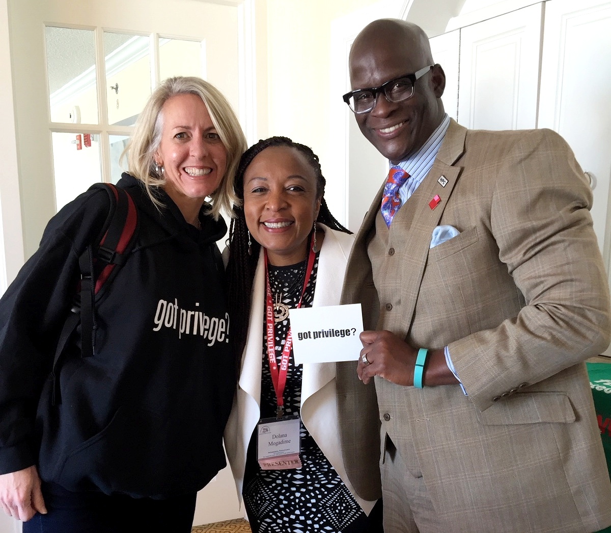 Eddie Moore with Dolana Mogadime and Kim Radersma