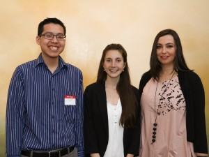 Graduate students Terry Chu, left, Carly Cameron and Christina Garchinski all spoke Tuesday during the Graduate Student Awards and Donor Recognition Reception.