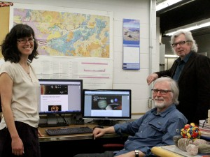 Earth Sciences professors Mariek Schmidt, Frank Fueten and Rick Cheel.
