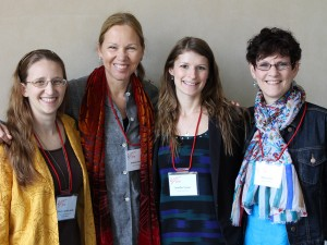 Conference organizers Lisa-Jo K. van den Scott, Andrea Doucet, Jennifer Turner, and Nancy Cook. (Not shown: Jennifer Rowsell, Deana Simonetto.)