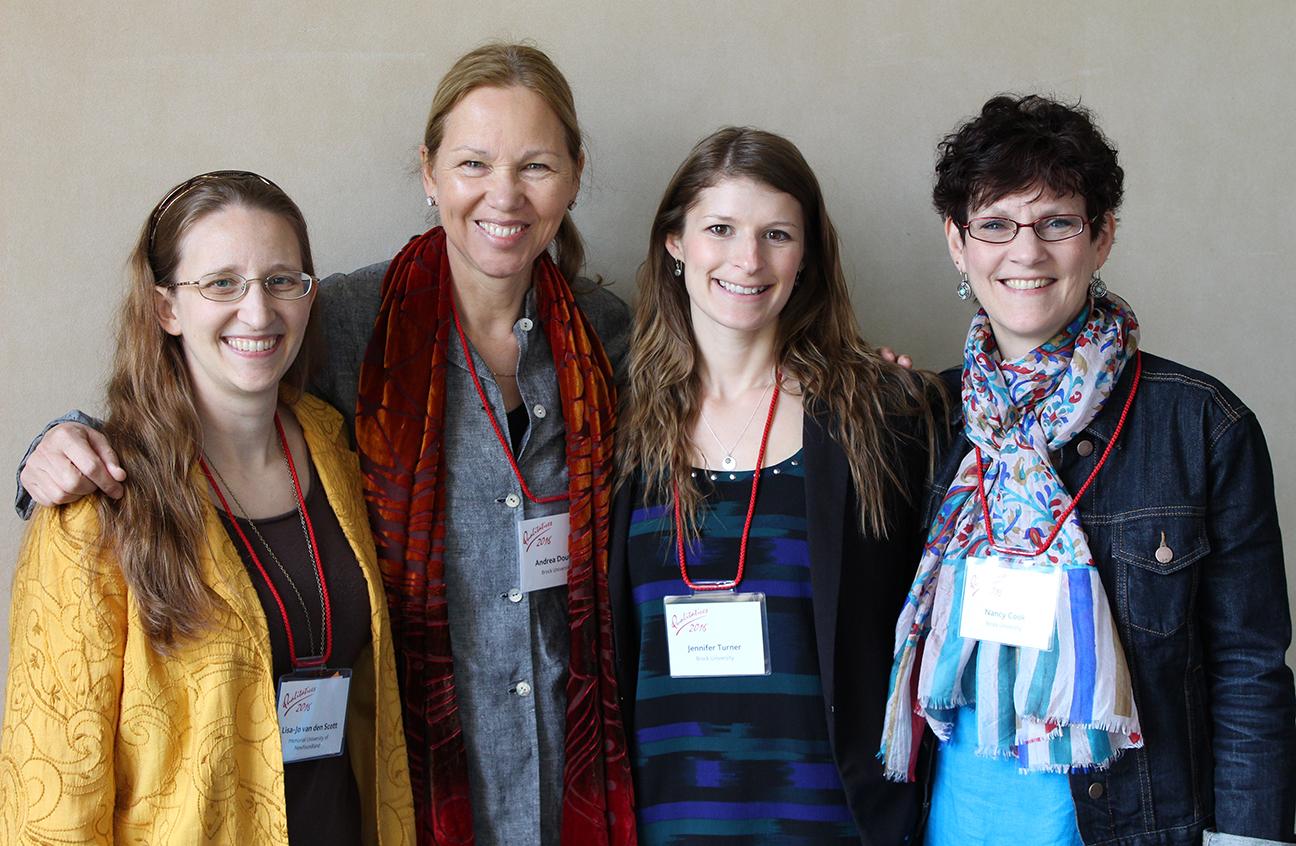 Conference organizers Lisa-Jo K. van den Scott, Andrea Doucet, Jennifer Turner, and Nancy Cook. (Not shown: Jennifer Rowsell, Deana Simonetto.)