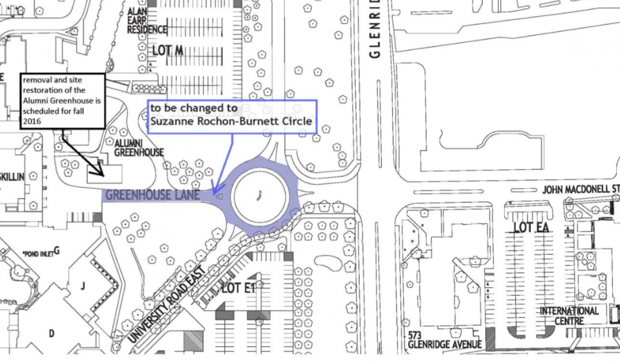 Greenhouse Lane and roundabout being renamed Suzanne Rochon-Burnett Circle.