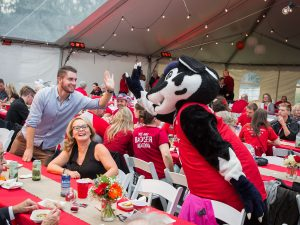 The annual Red Dinner is a big draw for alumni and students alike during Homecoming Weekend.