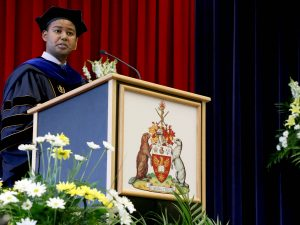 Professor Anteneh Ayanso from the Goodman School of Business gave the morning convocation speech Thursday after being awarded the Faculty Award for Excellence in Teaching.