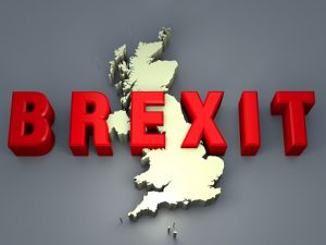 Graphic with map of United Kingdom with BREXIT written across it.