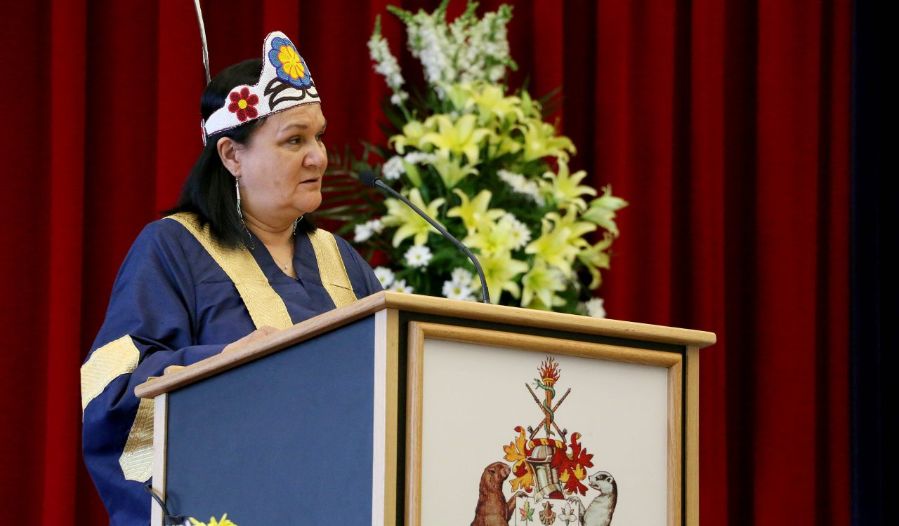 Chancellor Shirley Cheechoo delivers one of eight convocation week addresses to graduating students.