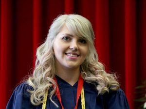 Kerri Ann Podwinski received the Faculty of Applied Health Sciences undergraduate Board of Trustees Spirit of Brock award Friday.