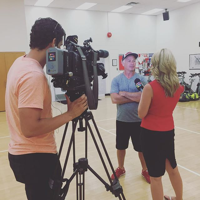 Wrestling coach Marty Calder is interviewed by CHCH news.