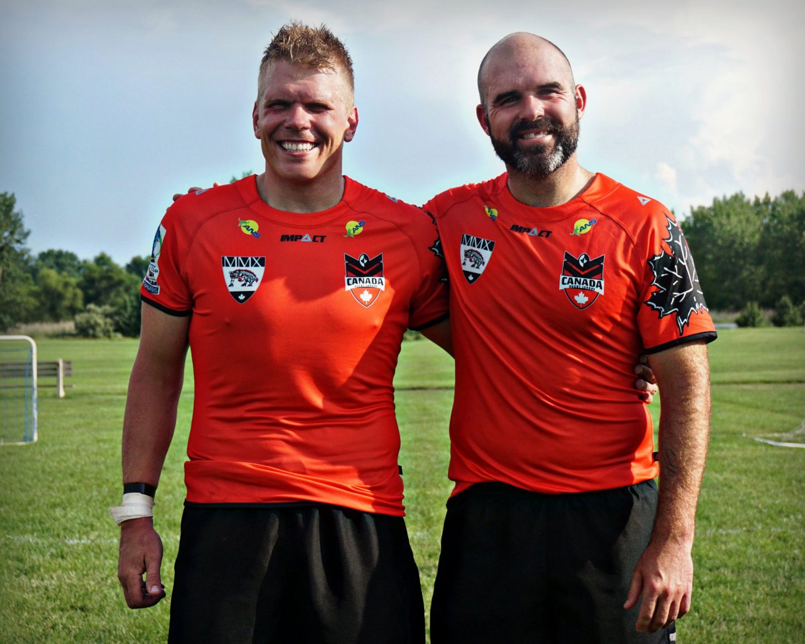 Rugby players Eric Moyer, left, and Christian Miller.