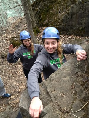 Brock students bouldering.