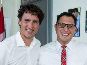 Brock University alumnus Chris Ventura and Prime Minister Justin Trudeau