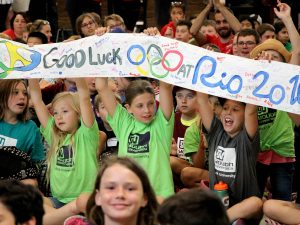 Hundreds of Youth University participants, sports campers, staff and faculty gathered for Olympic send-off party.