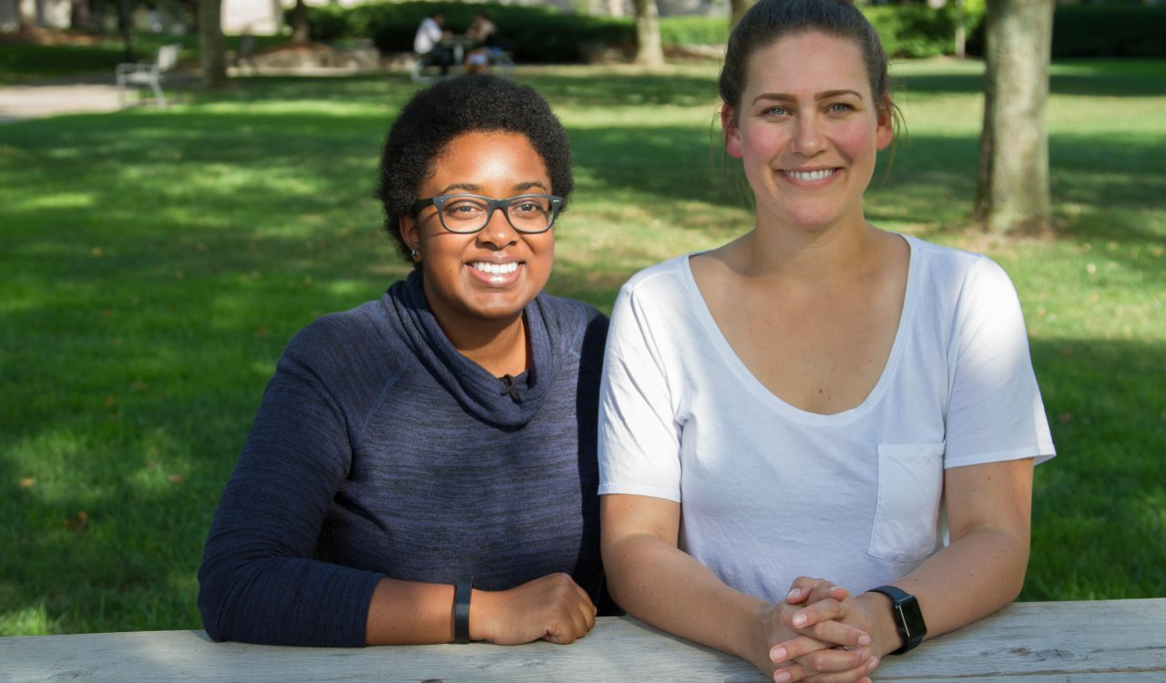 Biotechnology grad students Esther Onguta and Jennifer Kelly.