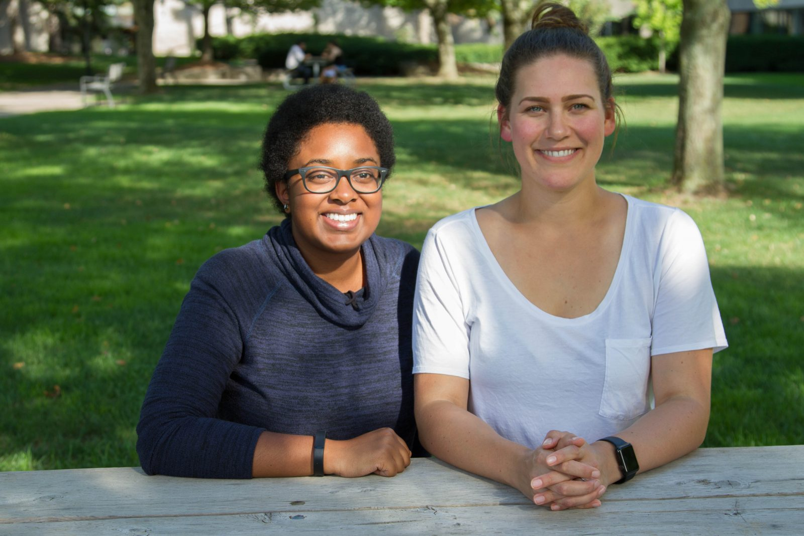 Biotechnology grad students Esther Onguta and Jennifer Kelly.