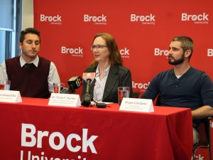 Alessio Gasparotto, Manager, Entomogen Inc., Brock medical entomologist Fiona Hunter and Bryan Giordano, PhD candidate in the Centre for Biotechnology at Brock, at a news conference following the discovery of Aedes aegypti mosquitoes in Windsor.