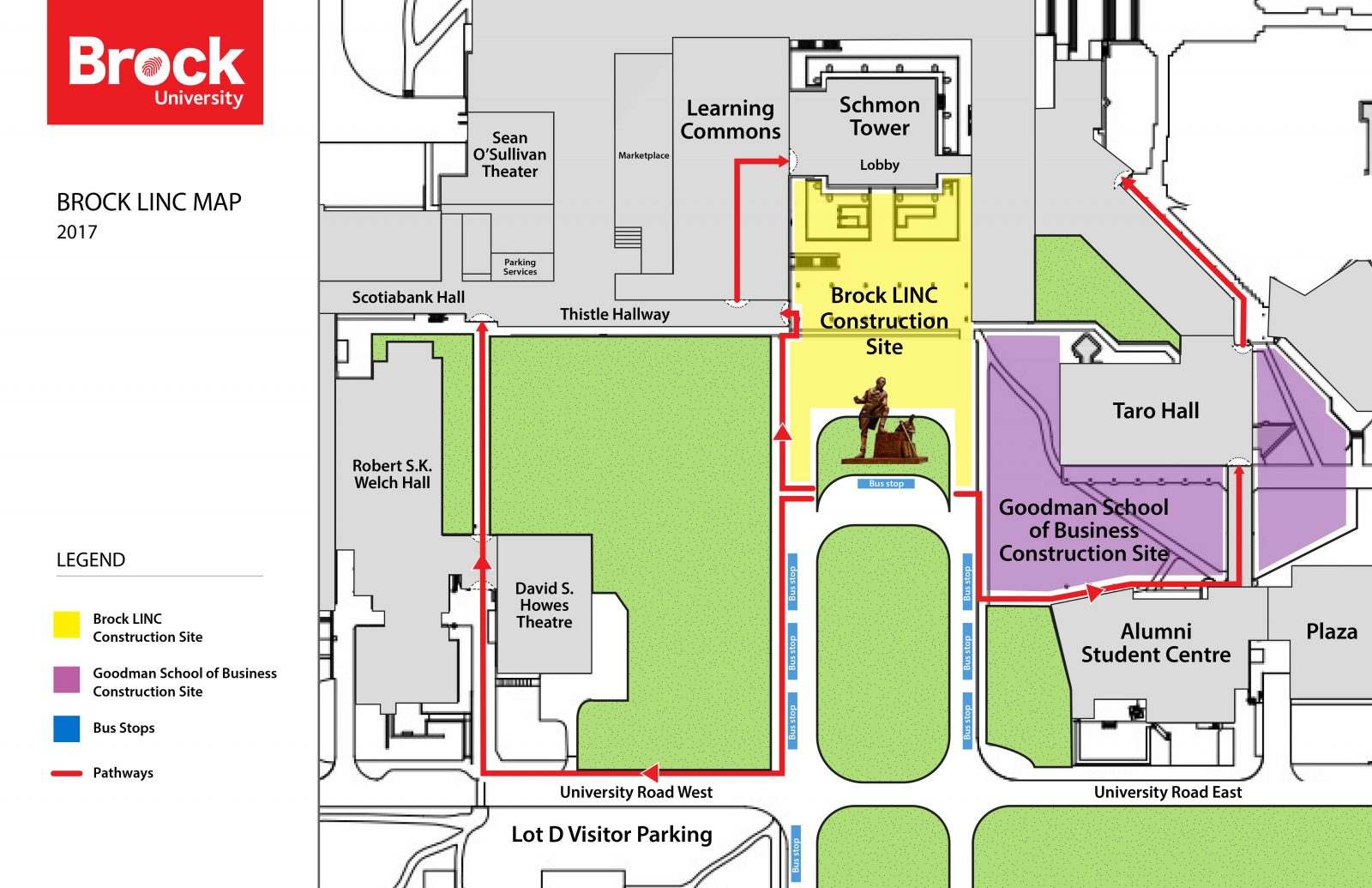 Brock University Map Attention pedestrians: big changes coming at the front of Schmon