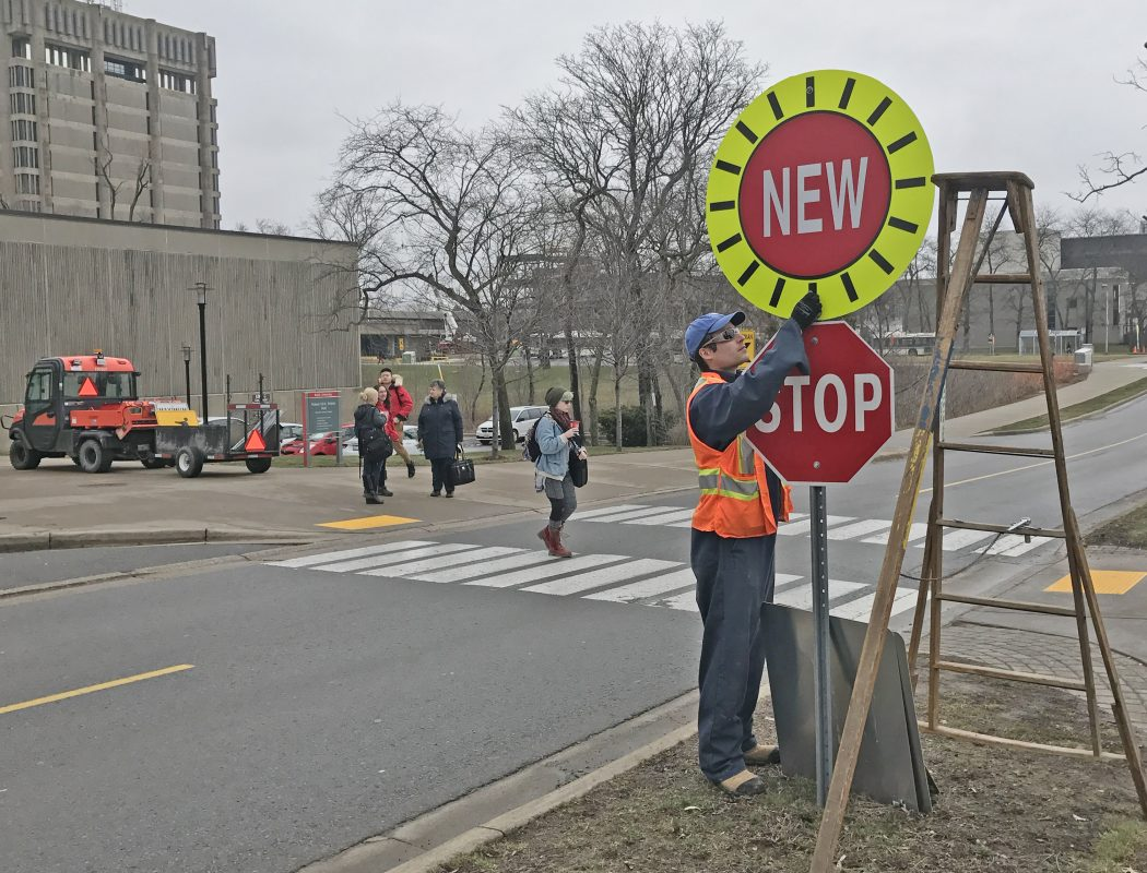 new stop signs  lower speed limit for university road