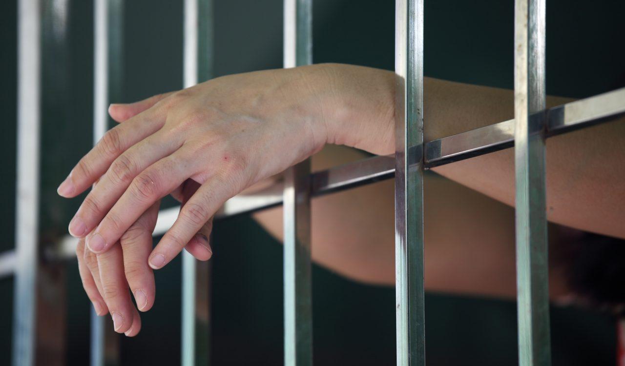 Female hands in prison