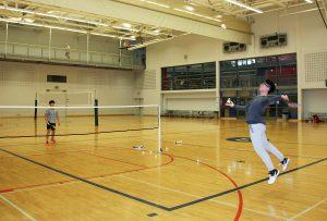 Students playing badminton