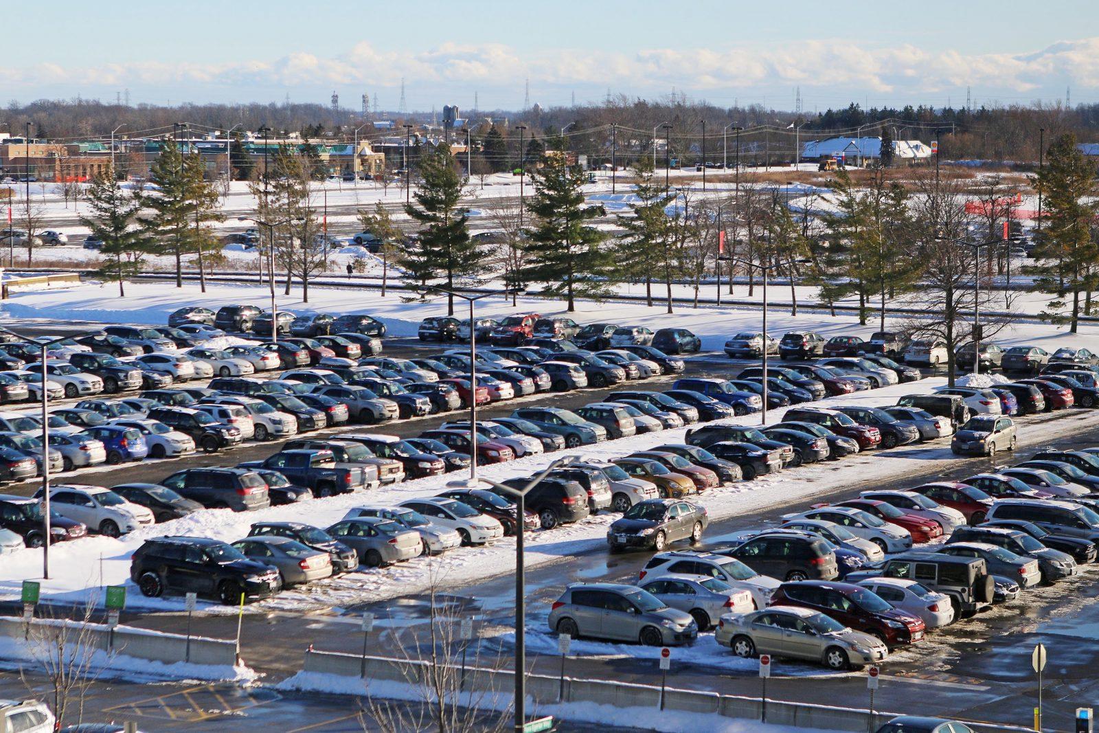 Winter parking lot
