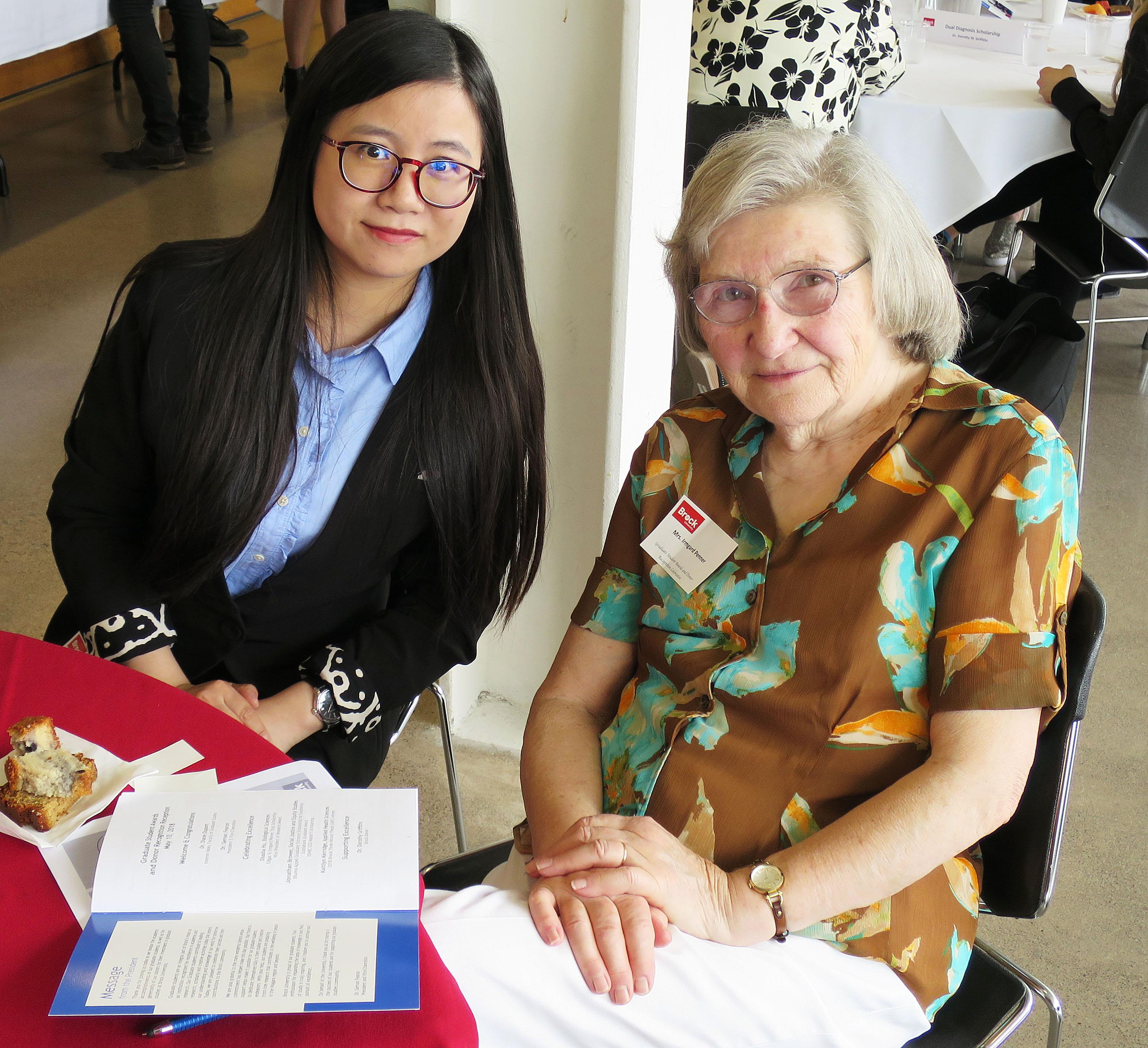 Shasha Hu and donor Irmgard Penner