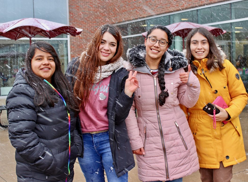 International students experience first snowfall