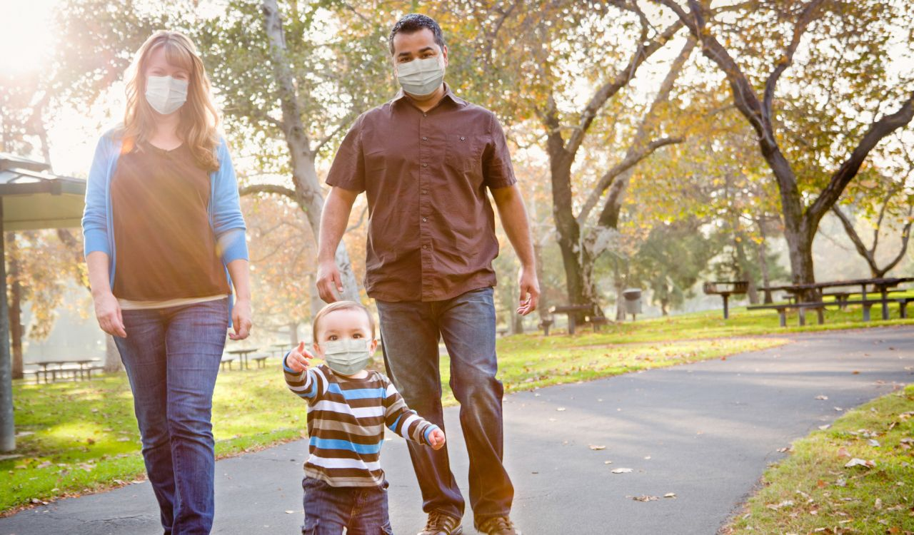 Family walking with masks