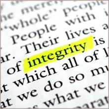 The word integrity highlighted in some text